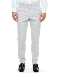 Серые классические брюки из жатого хлопка