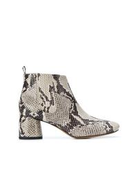 Серые кожаные ботильоны со змеиным рисунком от Marc Jacobs