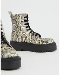 Женские серые кожаные ботинки на шнуровке со змеиным рисунком от ASOS DESIGN