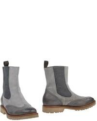 Серые кожаные ботинки челси