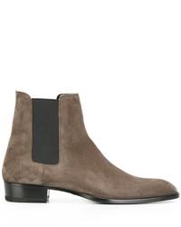 Мужские серые кожаные ботинки челси от Saint Laurent
