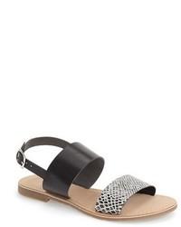 Серые кожаные сандалии на плоской подошве со змеиным рисунком