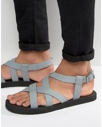 Мужские серые кожаные сандалии от Asos