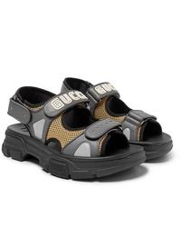 Мужские серые кожаные сандалии от Gucci