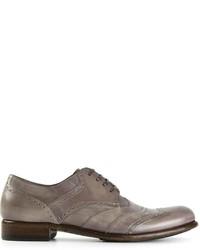 Серые кожаные туфли дерби