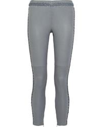 Серые кожаные узкие брюки