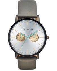 Серые кожаные часы