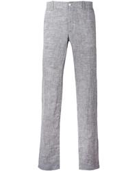 Серые льняные брюки чинос
