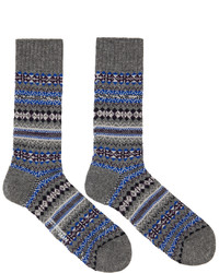 Серые носки с жаккардовым узором