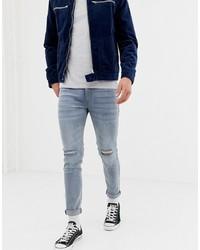 Мужские серые рваные зауженные джинсы от D-struct