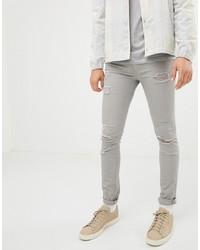 Мужские серые рваные зауженные джинсы от Jack & Jones