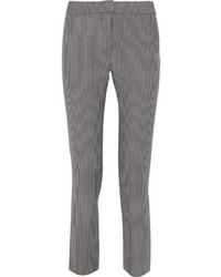 Серые узкие брюки в вертикальную полоску