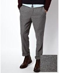 Серые шерстяные брюки чинос от Asos