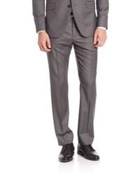 Серые шерстяные классические брюки в вертикальную полоску