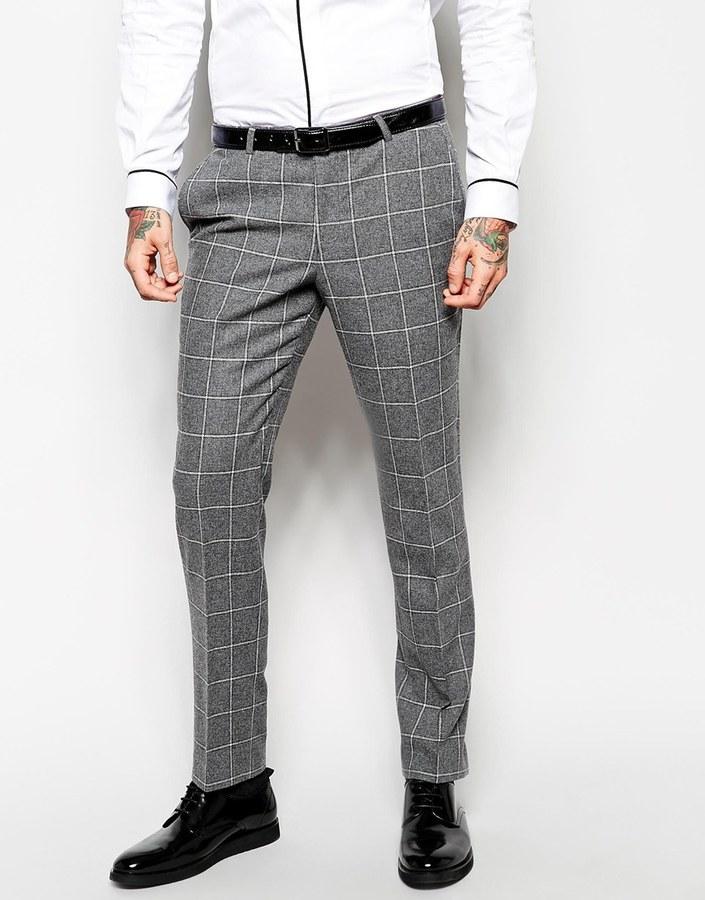 ... Мужские серые шерстяные классические брюки в клетку ... 72d7079963071