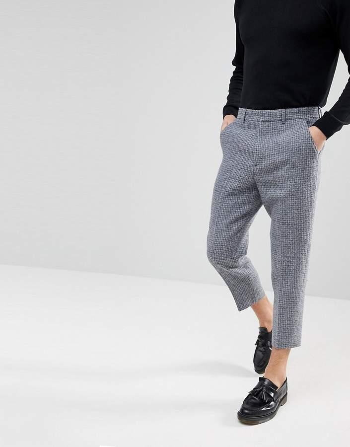 Мужские серые шерстяные классические брюки в клетку от Asos