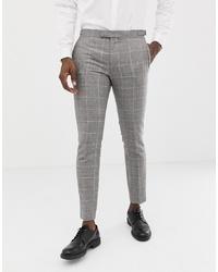 Мужские серые шерстяные классические брюки в клетку от MOSS BROS