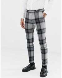 Мужские серые шерстяные классические брюки в клетку от Twisted Tailor
