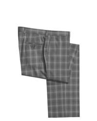 Серые шерстяные классические брюки в мелкую клетку