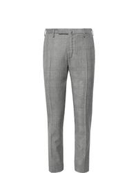 Мужские серые шерстяные классические брюки в шотландскую клетку от Incotex