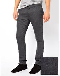"""Мужские серые шерстяные классические брюки с узором """"в ёлочку"""" от Farah Vintage"""