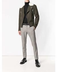 """Мужские серые шерстяные классические брюки с рисунком """"гусиные лапки"""" от DSQUARED2"""