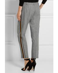 Серые шерстяные узкие брюки
