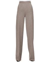 Серые шерстяные широкие брюки