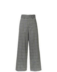 Серые широкие брюки в шотландскую клетку