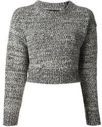 Серый вязаный короткий свитер