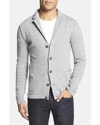Серый вязаный пиджак