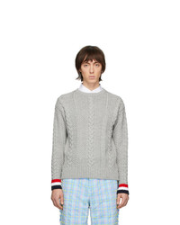 Мужской серый вязаный свитер от Thom Browne