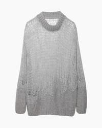 Серый вязаный свободный свитер