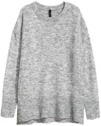 Женский серый вязаный свободный свитер от H&M