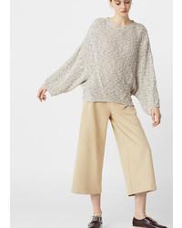 Женский серый вязаный свободный свитер от Mango