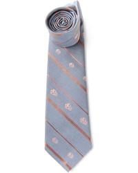 Мужской серый галстук в вертикальную полоску от Alexander McQueen