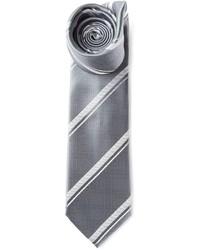 Мужской серый галстук в вертикальную полоску от Brioni
