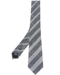 Мужской серый галстук в вертикальную полоску от Giorgio Armani
