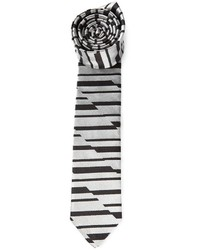 Мужской серый галстук в горизонтальную полоску от Emporio Armani