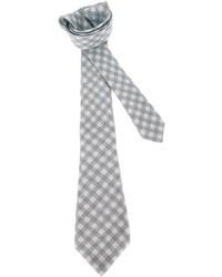 Серый галстук в мелкую клетку