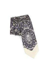 Серый галстук с принтом
