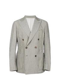 Серый двубортный пиджак в вертикальную полоску