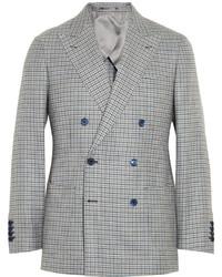 Серый двубортный пиджак в клетку