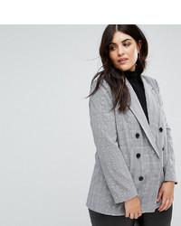 Женский серый двубортный пиджак в клетку