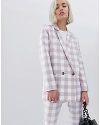 Женский серый двубортный пиджак в клетку от ASOS DESIGN