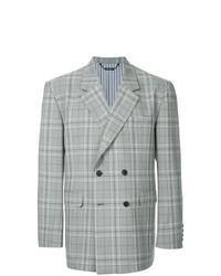 Серый двубортный пиджак в шотландскую клетку