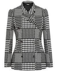 Женский серый двубортный пиджак в шотландскую клетку от Alexander McQueen
