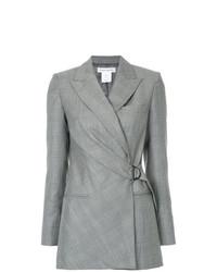 Женский серый двубортный пиджак в шотландскую клетку от Bianca Spender