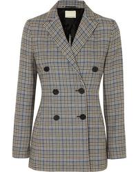 Женский серый двубортный пиджак в шотландскую клетку от By Malene Birger