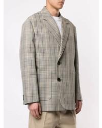 Мужской серый двубортный пиджак в шотландскую клетку от Wooyoungmi